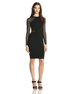 French Connection Women's Viven Paneled Jersey Dress, Black, 4