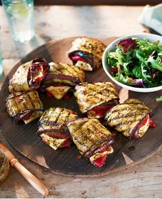 Sure to delight vegetarians and meat eaters alike, these tasty parcels feature slices of charred aubergine, fresh tomato, roasted red pepper and creamy feta.