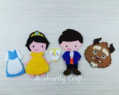Beauty Princess and Beast Prince Felt Doll Set with little teacup - Celebration Birthday Party Favor Gift by AHeartlyCraft on Etsy