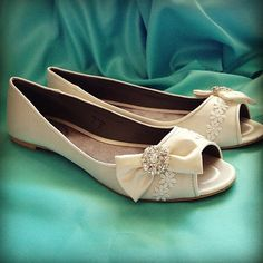 Chic Bows Bridal Open toe Ballet Flats Wedding Shoes - All Full Sizes - Pick your own shoe color and crystal color. $75.00, via Etsy.
