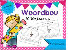 Woordbou werkkaarte reg vir druk en gebruik! Graad 1 en 2 Speech Language Therapy, Speech And Language, High School Students, Pre School, Shape Worksheets For Preschool, Afrikaans Language, Handwriting Practice Sheets, School Posters, Teaching Aids