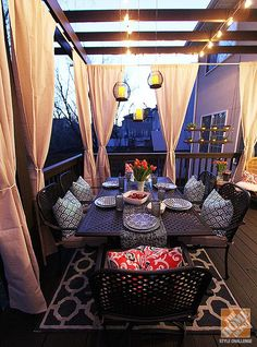 Deck Decorating Ideas: A Pergola, Lights and DIY Cement Planters - Home… Outdoor Rooms, Outdoor Dining, Outdoor Furniture, Patio Chico, Diy Cement Planters, Design Patio, Pergola Designs, Casa Patio, Backyard Pergola