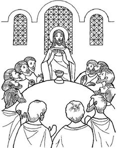 Holy Thursday: The Last Supper coloring page Jesus Coloring Pages, Easter Coloring Pages, Printable Coloring Pages, Coloring Pages For Kids, Coloring Books, Catholic Lent, Catholic Crafts, Gingerbread Man Coloring Page, La Passion Du Christ