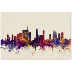 Trademark Fine Art Milan Italy Skyline Canvas Art by Michael Tompsett, Size: 22 x 32, Red