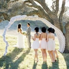 Our favorite outdoor ceremony backdrops, like this lace creation photographed by Jose Villa on Once Wed.
