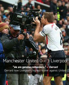 Liverpool FC's Steven Gerrard against ManUre #LFC