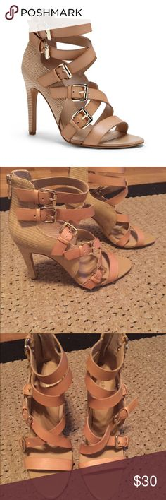 Sole Society Cage Sandal heels Only worn once, EXCELLENT condition. Great color, extremely versatile! Size 10 Sole Society Shoes Heels