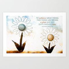 Achieve Great Things {Handpainted Flowers} Art Print by Kokabella - $14.99