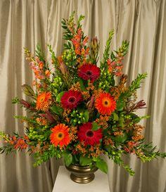 Twinbrook Floral Design Alter Flowers, Church Flowers, Funeral Flowers, Fresh Flowers, Orange Wedding Arrangements, Funeral Flower Arrangements, Church Wedding Decorations, Floral Decorations, Bridal Bouquet Fall