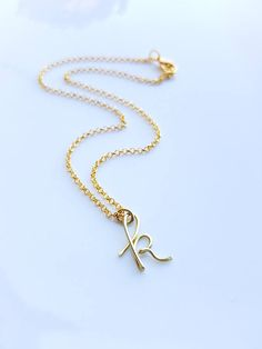 """Cursive Gold Letter Alphabet Initial """"k"""" necklace birthday gift lucky charm layered necklace Initial k Necklaces letter K gold pendant Di&De - Etsy Jewelry, Jewelry Accessories, Handmade Jewelry, Etsy Handmade, Gold Jewelry, Handmade Gifts, K Necklace, Layered Necklace, Gifts For Women"""