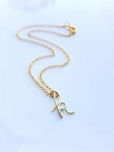 Cursive Gold Letter Alphabet Initial k necklace