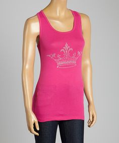 Look at this Pink Sparkle Crown Tank on #zulily today!