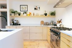 Birch faced plywood kitchen using IKEA base units and Plykea doors and drawer fronts.