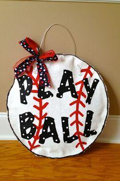 "Baseball ""Play Ball"" Burlap Door Hanger on Etsy, $28.00"