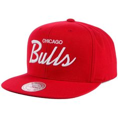 6166833a64c89 Chicago Bulls Mitchell and Ness NBA White Script Snapback Cap ❤ liked on Polyvore  featuring accessories