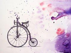 Le grand Bi by ~laMariette on deviantART Joy Ride, Unicycle, Bicycle Art, Wood Burning, Vintage Art, Decoupage, Deviantart, Watercolor, Illustration