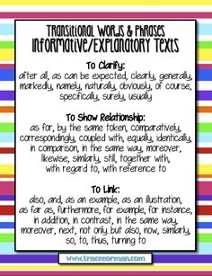 Common Core Tips: Using Transitional Words in informative Writing