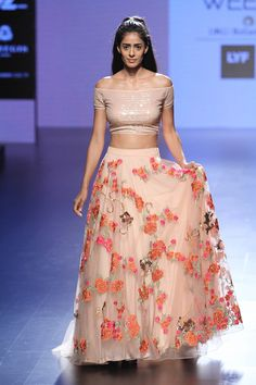 Pink flower and bird motifs lehenga and grid sequinned off shoulder crop top set available only at Pernia's Pop Up Shop.
