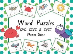 CVC, CCVC & CVCC Word Puzzles {Phonics Game} --- This is a fun phonics game that focuses on CVC, CCVC & CVCC words/pictures. It's a great activity to include in literacy centers, guided reading rotations or even to use with your own little ones at home. This game focuses on: - Letter/sound relationships - Segmenting single sound in CVC words (eg: d-o-g) - Segmenting consonant blends and digraphs in CVCC and CCVC words (eg: tr-u-ck) There is a total of 64 puzzles (192 puzzle pieces). Simply…