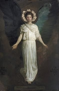 "Abbott Handerson Thayer ""Doubtless my lifelong passion for birds has helped to incline me to work wings into my pictures; but primarily I have put on wings probably more to symbolize an exalted atmosphere (above the realm of genre painting) where one need not explain the action of the figures"""