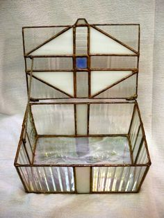 BOX Stained Glass Clear & Iridescent Glass by TurtleandDragon, $26.00