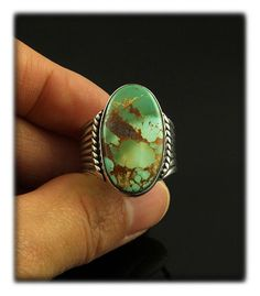 Art Deco Silver Ring with Royston Turquoise