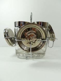 Vintage Mid Century Modern Regency SILVER BARWARE GLASS DRINK SET Eames