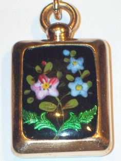 Unusual Victorian Watch Chain Fob Pendant Charm Painted Agate Butterly