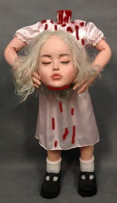 4 FT Girl with Severed Head Halloween Prop
