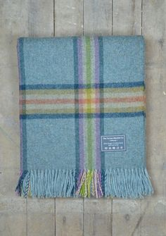 Lifestyle New Wool Blanket in Blue and Lime Check