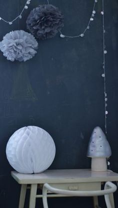 Light blue Mushroom lamp, kids room