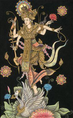 Bali Painting, Magic Drawing, Vajrayana Buddhism, Thailand Art, Polynesian Art, Thangka Painting, Gold Leaf Art, Iranian Art, Thai Art