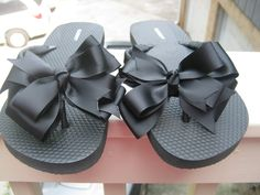 Solid Black and Solid White decorated Flip Flops. $30.00, via Etsy.