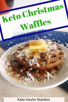 Start a new Christmas morning tradition with waffles. Chocolate waffles to be exact. The waffles are dairy free and are easy for being low carb and keto. Waffles are back on the brunch menu this year for the holidays. #christmas #keto #waffles