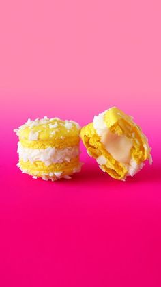 Add a tropical twist to vanilla macarons by filling them with coconut frosting and pineapple curd.
