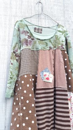 upcycled floral polkadot stripe cotton knit tunic by CreoleSha