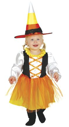 Black Candy Corn Baby Dress 12 Months