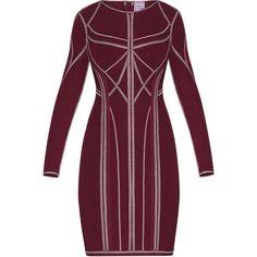 Herve Leger Elaina Metallic Stitch Dress ($1,840) ❤ liked on Polyvore featuring dresses, bandage dress, purple bandage dress, evening dresses, purple cocktail dresses and long sleeve bandage dress