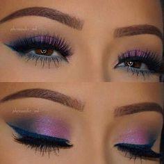 Sombra lila y delineador azul