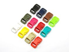 PJ040 Side Release Buckle. 3/8 Inch (11 mm) Size Only. 12 Color Available. Non-Adjustable.