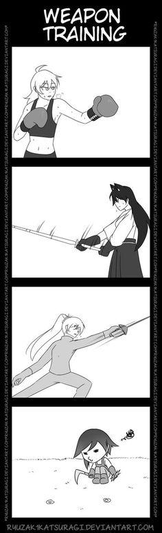 [RWBY] Weapon Training ~ everybody loves Ruby xD Rwby Anime, Rwby Fanart, Me Anime, Anime Stuff, Red Like Roses, Rwby Memes, Rwby Red, Rwby Characters, Rwby Comic