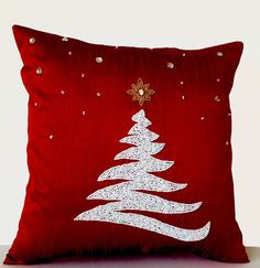 Red pillow cover with sparkling Christmas Tree,77hç Star and snow flakes. This pillow cover is made with sequin, beads and rhinestones embellished on red dupioni art silk. Details - INSERT NOT INCLUDED. This listing is for one pillow cover only - Same dupioni art silk on both sides - Backed