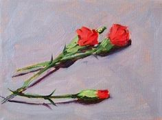 Original Still Life Flower Oil Painting Red by smallimpressions, $75.00