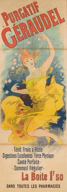 Jules Cheret - Purgatif Geraudel - 15 X 44 In. - This Giclée Print Is Gallery Stretched And Ready To Hang Or Lean. Belle Epoque, Jules Cheret, Art Nouveau Poster, Paris Shopping, All Poster, Posters, Illustrations, Artist Names, Vintage Ads