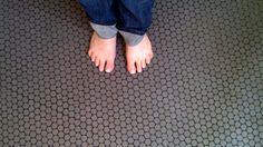 My bathroom floor - charcoal grey penny round tiles with black epoxy grout! Shower Floor Tile, Bathroom Floor Tiles, Basement Bathroom, Penny Round Tiles, Penny Tile, Black Grout, Grey Grout, Home Design Floor Plans, Bathroom Design Inspiration