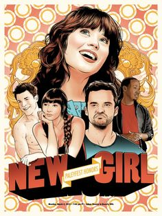 theblueboxboy: Joshua Budich's New Girl poster for Paleyfest. One Tree, New Girl Show, The Walking Dead, Nick And Jess, Jake Johnson, Jessica Day, Pop Culture Art, Girl Posters, Decoration Inspiration