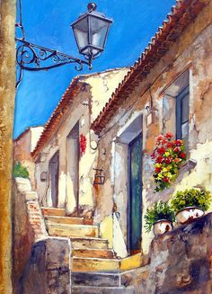 city stone stairway from below scorcio @@@@......http://www.pinterest.com/venussanat/watercolor-painting/