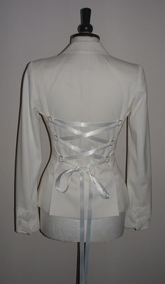 womens white ivory coat  riding jacket handmade corset back goth burlesque hip length #vintage style #victorian