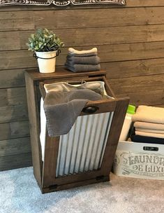Tilt Out Laundry Hamper, Tilt Out Hamper, Rustic Hampers, Rustic Furniture, Diy Furniture, Antique Furniture, Washing Bins, Diy Storage, Storage Drawers