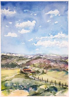 Watercolor Landscape Paintings, Watercolor Paper, Paintings For Sale, Original Paintings, Lovers Art, Impressionist, Tuscany, Buy Art, Sky